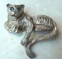 Vintage Big Cat Sterling Silver Lounging  Panther Brooch.